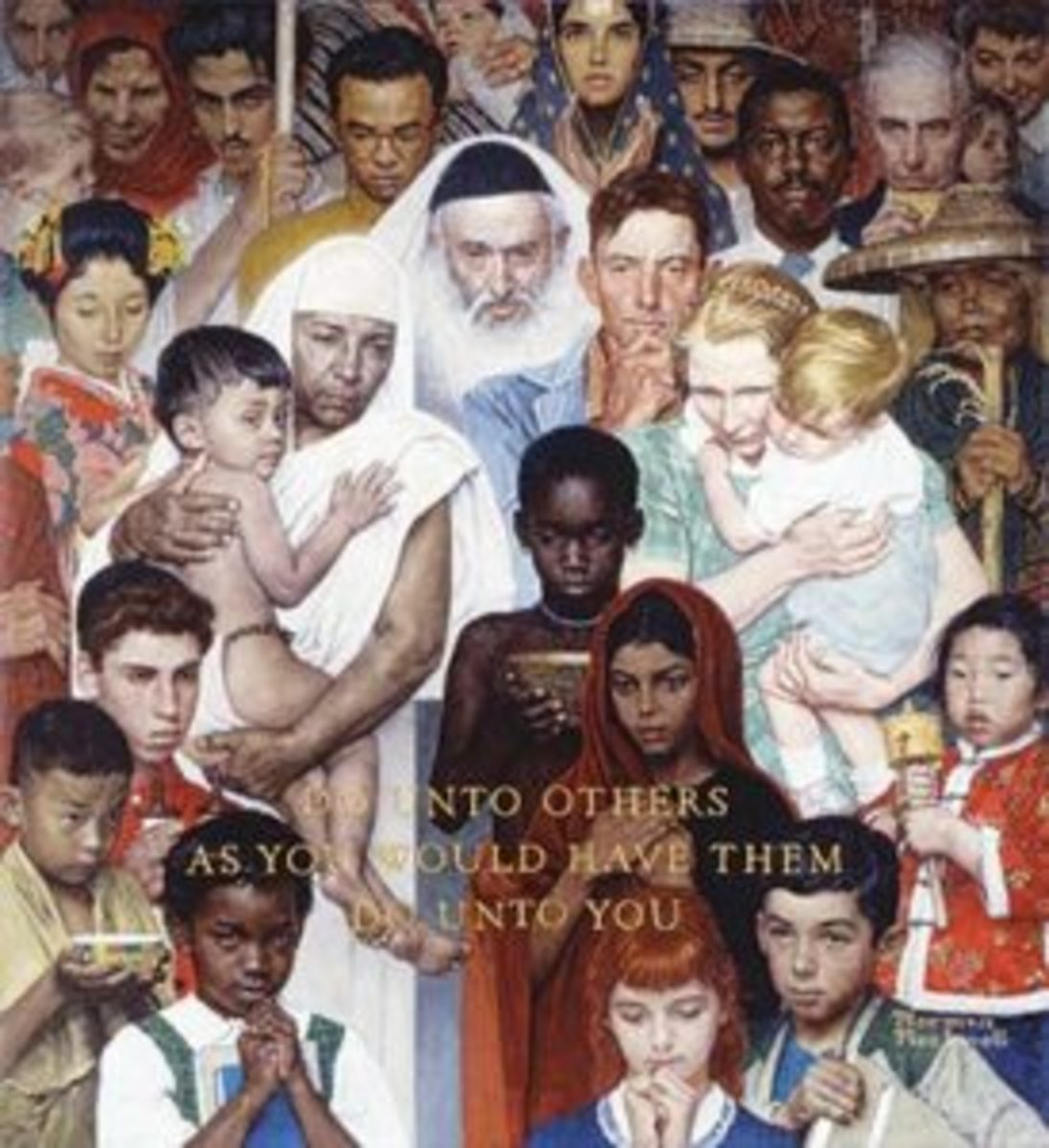 Norman Rockwell painted THE GOLDEN RULE for The Saturday Evening Post in 1961. Image courtesy Norman Rockwell Museum