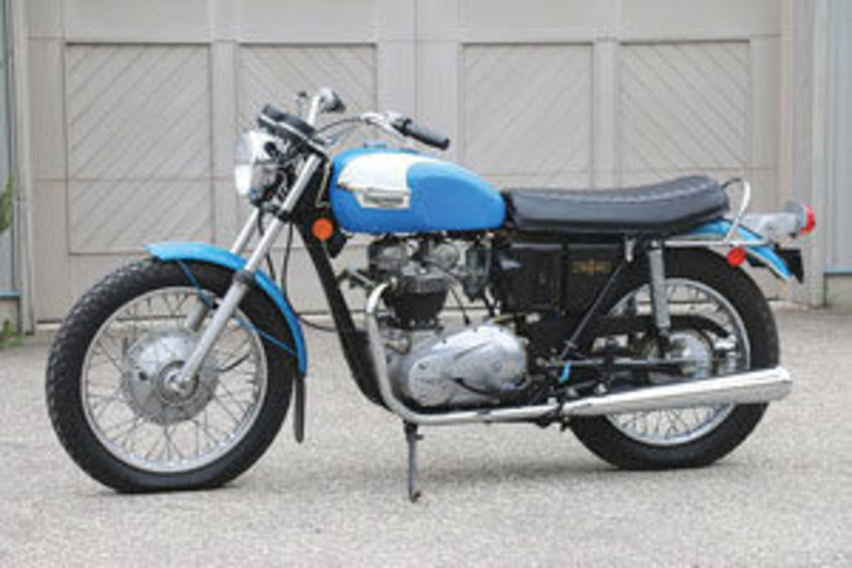 """This 1972 Triumph """"Tiger 650"""" motorcycle,an all-original survivor with 3,266 miles, sped off for $7,080."""