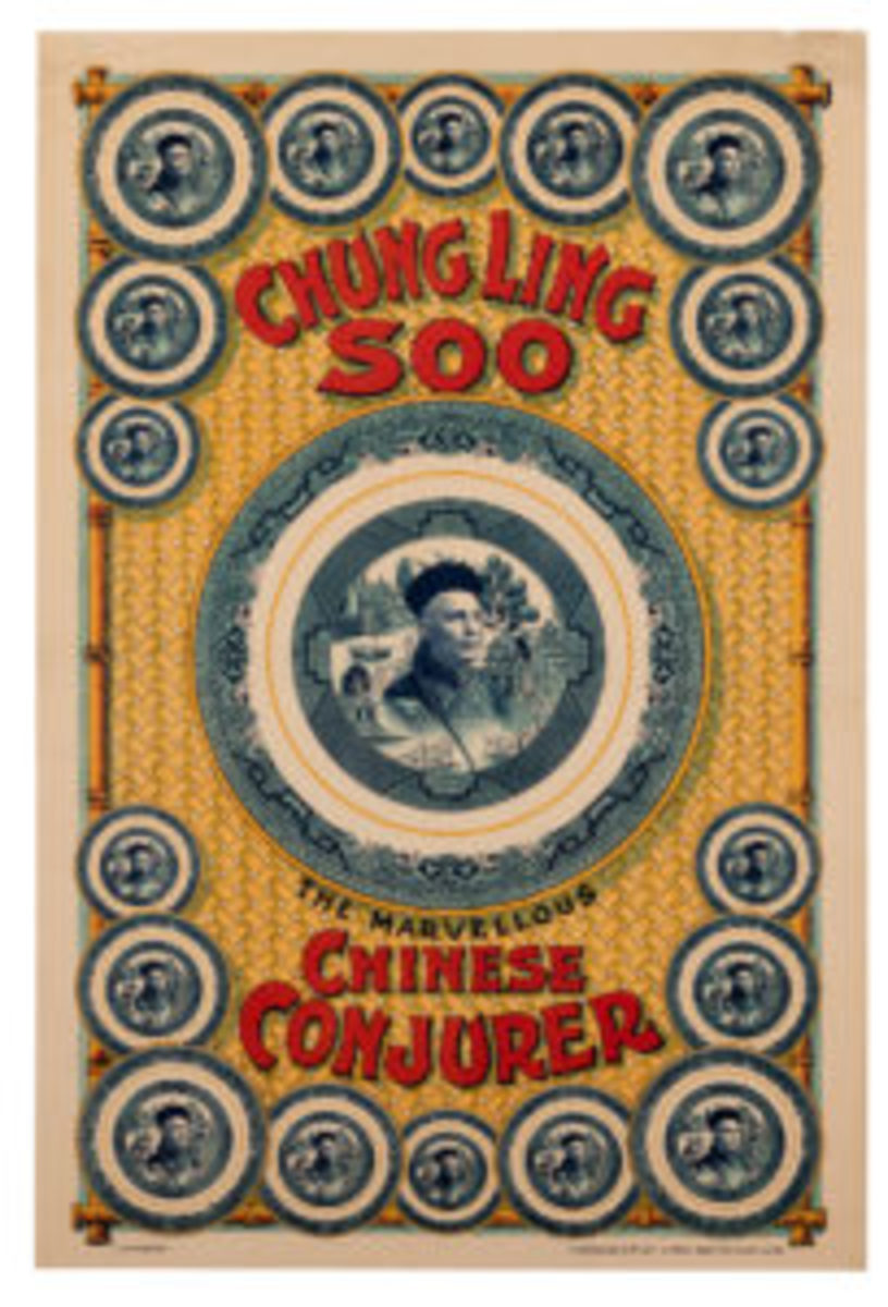 """Half-sheet color lithograph of Chung Ling Soo, The Marvelous Chinese Conjurer, by Ashton-Under-Lyne: Horrocks & Co, Ltd., ca. 1915. Features a willow plate motif, with Chung's face at the center of each plate, on a patterned background, 30"""" x 20""""; estimate: $4,000-$6,000."""