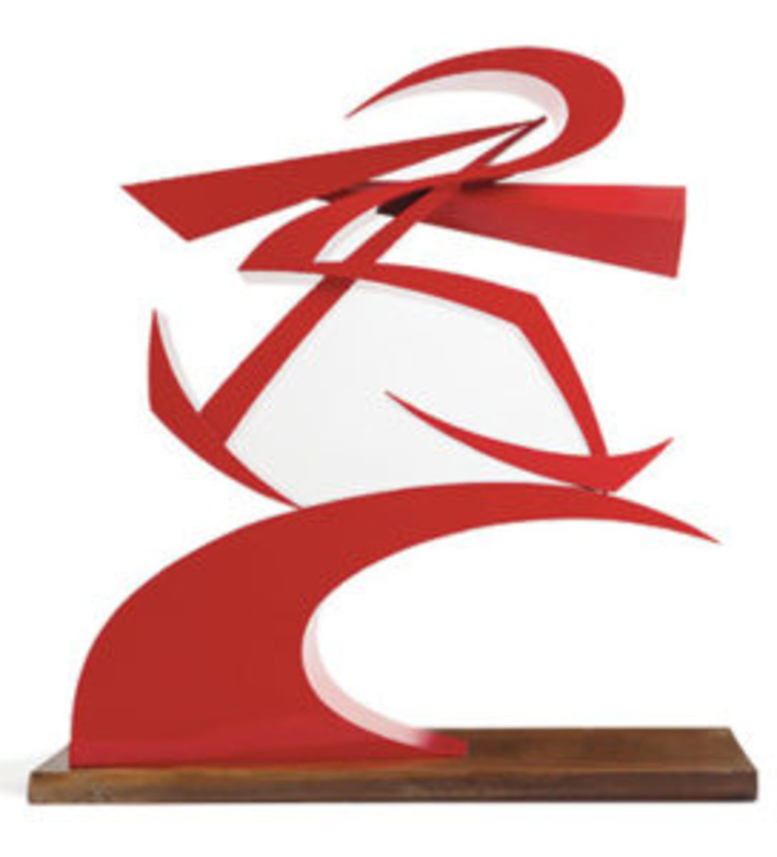 Red lacquer and cellulose nitrate on brass sculpture by Giacomo Balla (Italian, 1871–1958), titled Linee di forza del pugno di Boccioni II (1968), numbered 5/9; estimate: $50,000-$70,000.