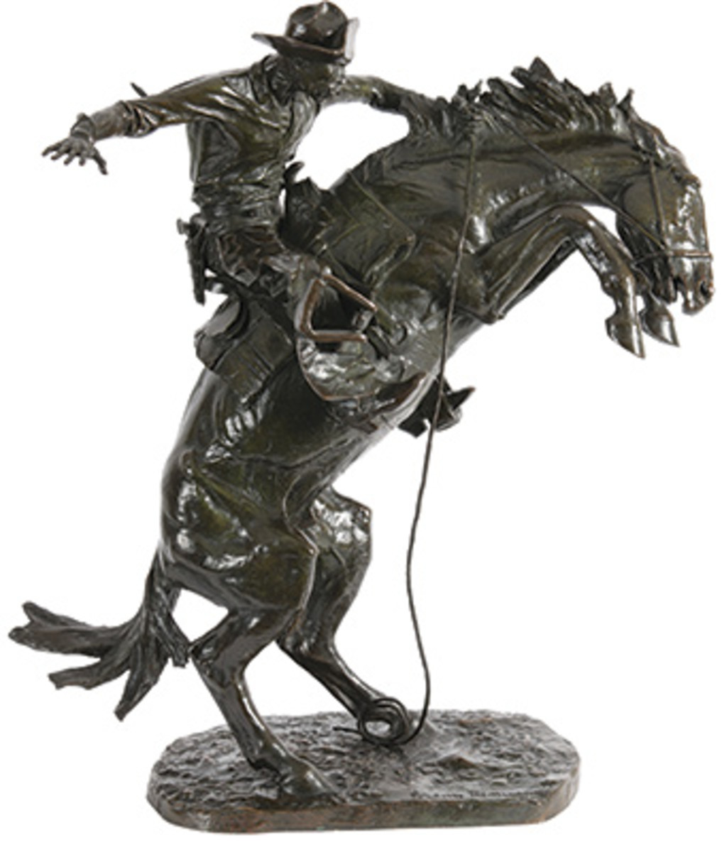 Frederic Remington's The Bronco Buster soared to a final selling price of $615,000 and took top lot. All images courtesy of Heritage Auctions