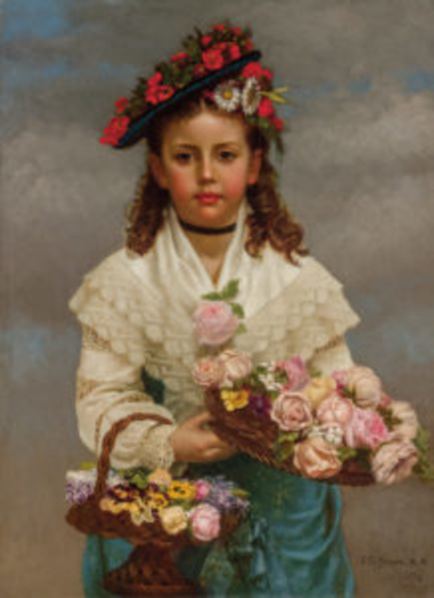"John George Brown (American, 1831-1913), The Flower Girl, 1878, oil on canvas, signed and dated, 30"" x 22"", sold for $87,500."