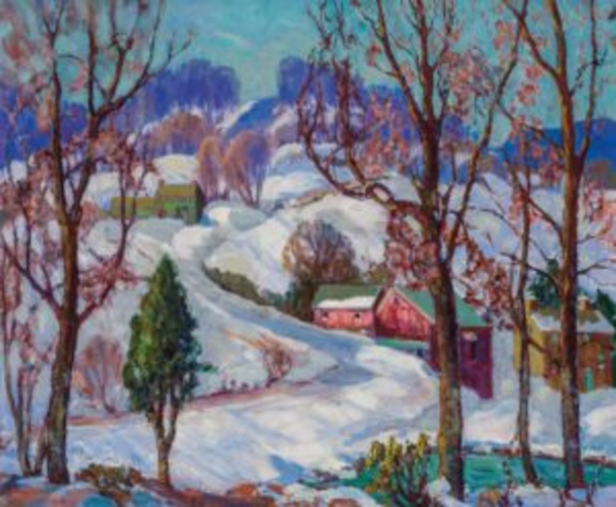 "Fern Isabel Coppedge (American, 1883-1951), Winter in Bucks County, oil on canvas, signed, 25"" x 30"", $81,250."