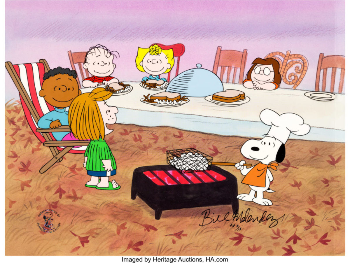 The Peanuts gang and their non-traditional Thanksgiving meal. It turns out that Snoopy may not have been so far-fetched with making popcorn. The 1895 Thanksgiving menu at the Hotel Vendome in Massachusetts ranged from Blue Points (oysters), terrapin, aux quinelles and roast turkey to ... buttered popcorn. Image courtesy of Heritage Auctions