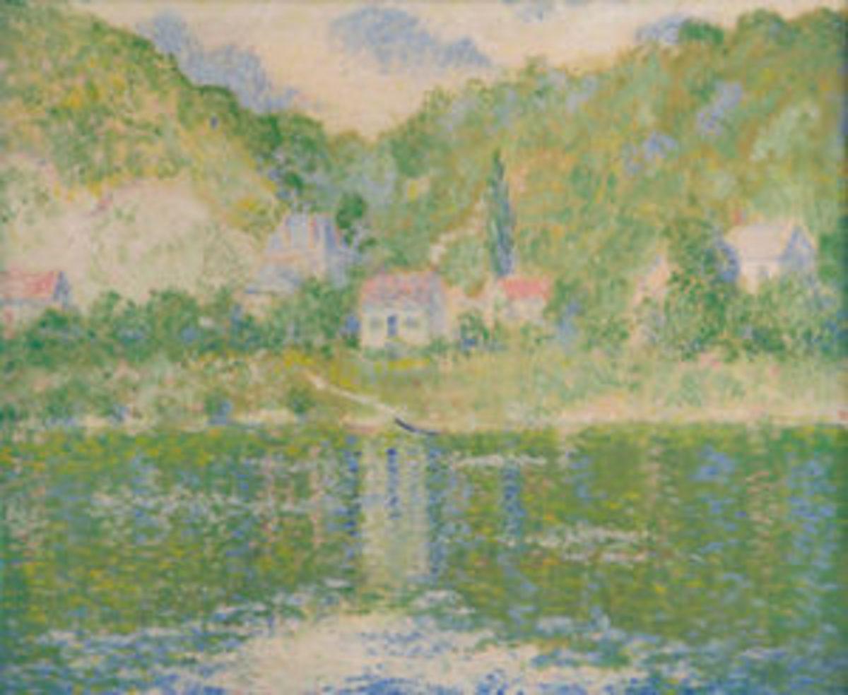 "Oil on canvas painting by Theodore Earl Butler(American, 1861-1936), titled La Seine à Port-Villez,23"" x 28""; estimate: $12,000-$18,000."