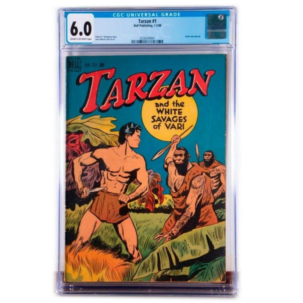 Tarzan and the White Savages of Vari. CGC Universal Grade, 6.0 Dell, 1-2/48 Issue: 1 Condition: Fine. Estimate: $600-800.