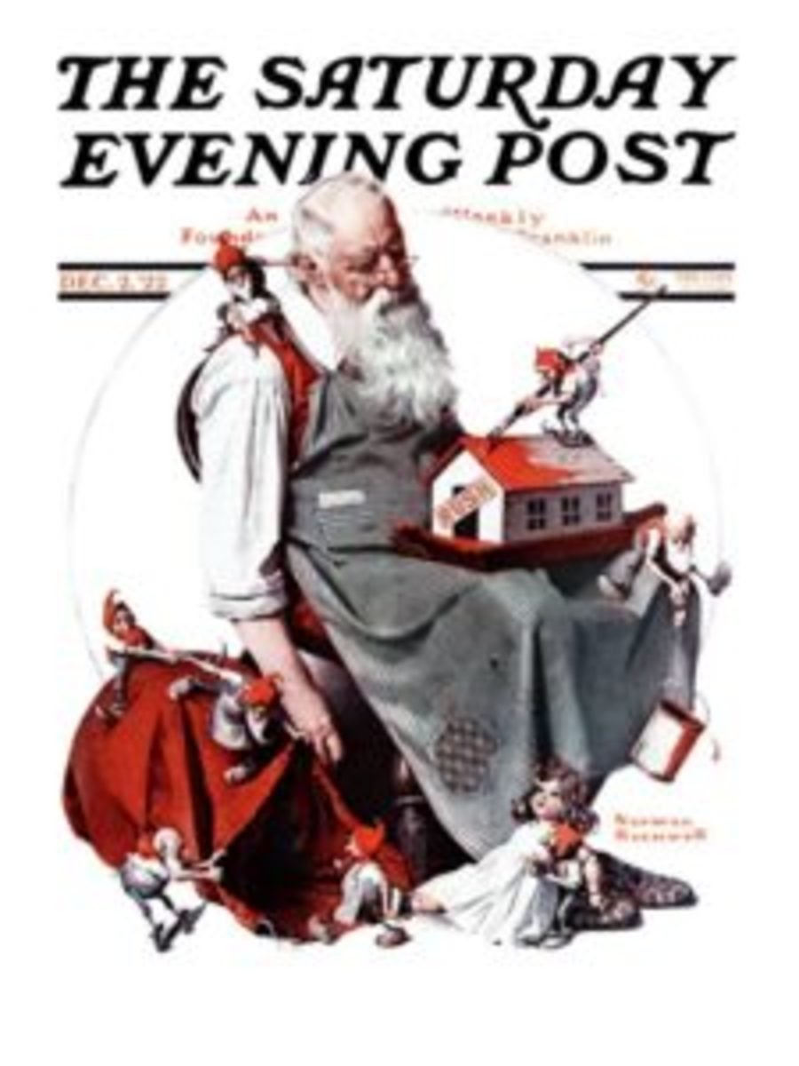 Norman Rockwell's 1922 Saturday Evening Post cover gives a human and naturalistic aspect to Santa, showing that he can fall asleep in a chair like the rest of us.