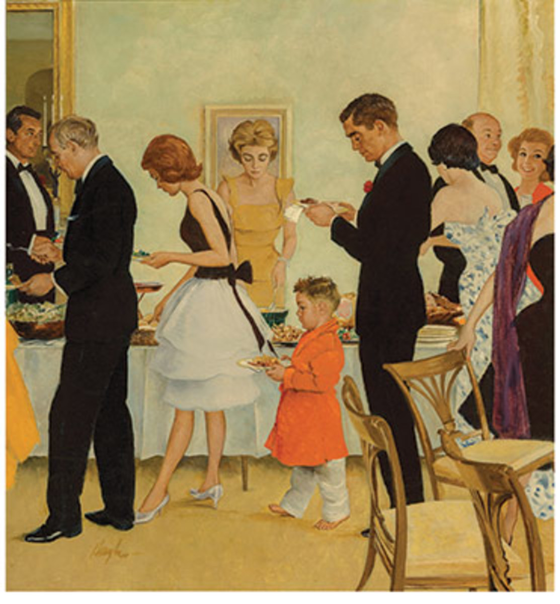 George Hughes Dinner Party, The Saturday Evening Post cover, November 11, 1961, sold for $87,500 and was a new auction record for the artist.