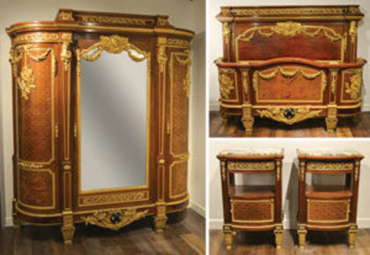 Louis XVI bedroom suite after the design of Jean-Henri Riesener (French, 1734-1806); a bed, armoire and stands, having ormolu bronze mounts by Jean Rabiant; estimate: $50,000-$90,000.