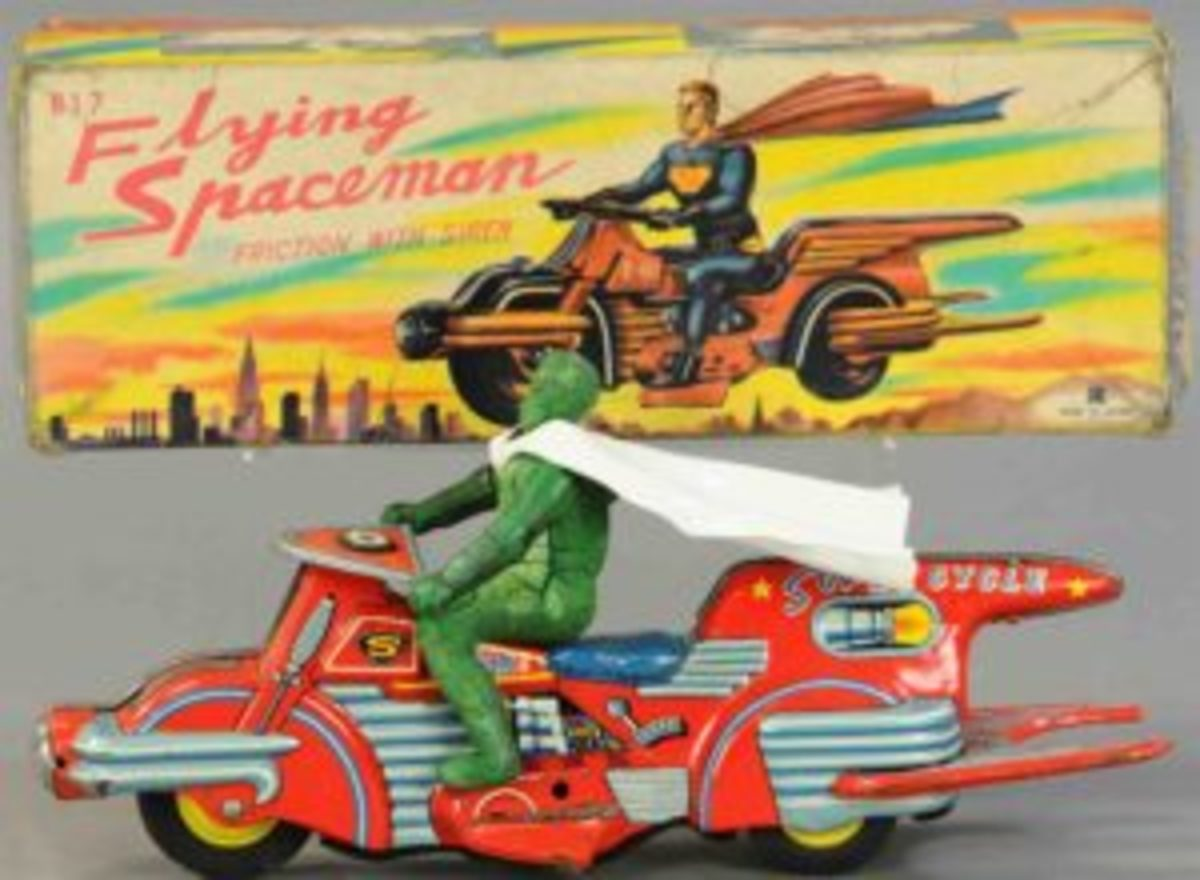 "An extremely rare example, beautiful lithography covers all sides of this flying motorcycle and is matched in detail by that of the original box lid, includes a very hard to find original spaceman figure,12"" l; $7,200."