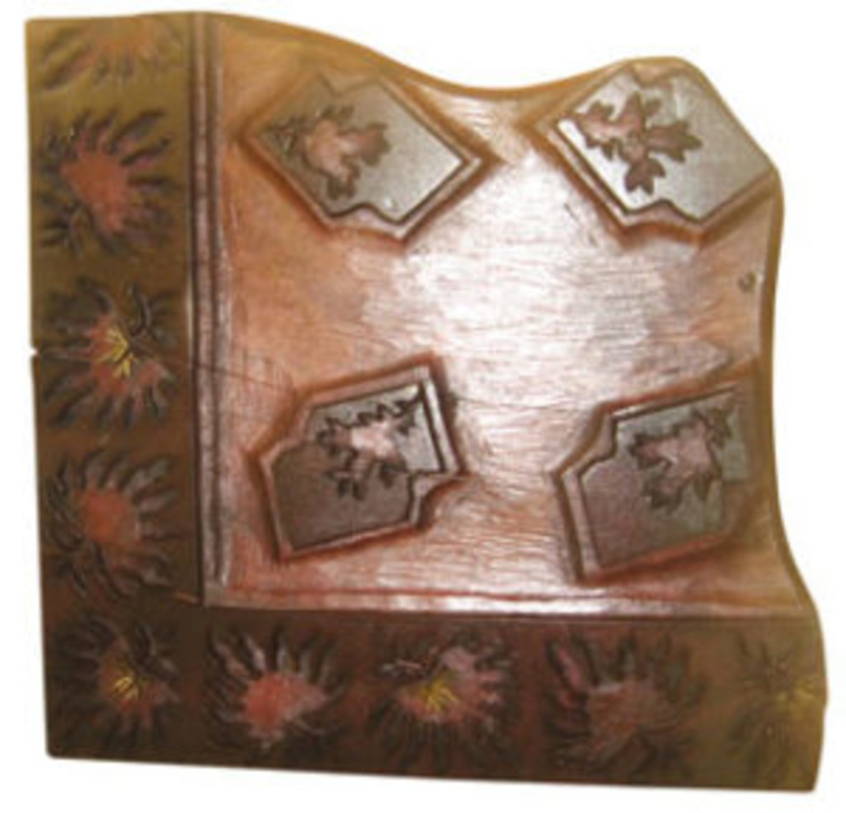 A large section of carved wood block used in hand printing. Notice the beautiful border. Blocks are constructed of hard woods, such as Rosewood; $140-$160.