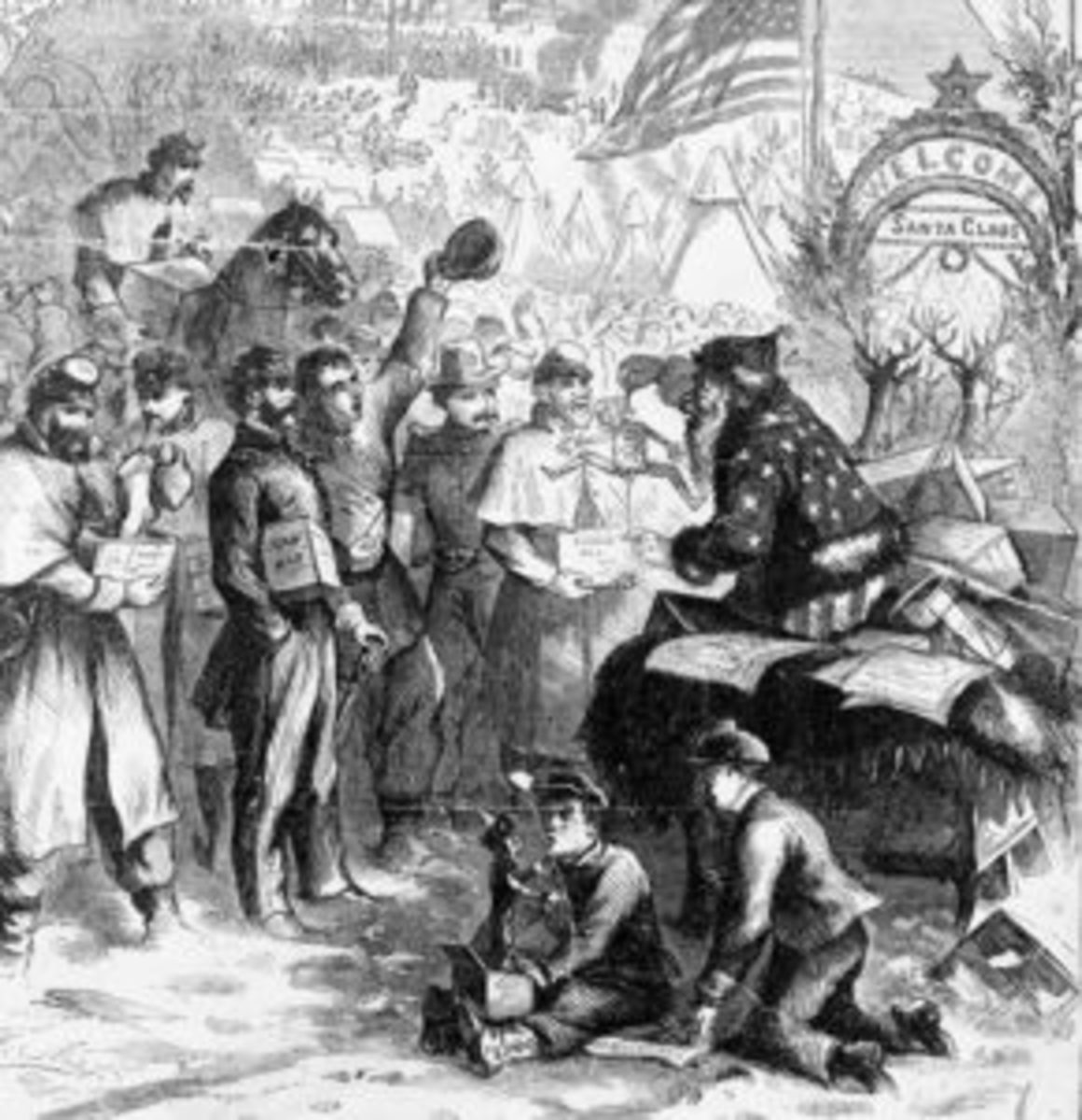 "Detail from Thomas Nast's illustration ""A Christmas Furlough"" for the front page of a 1863 issue of Harper's Weekly."