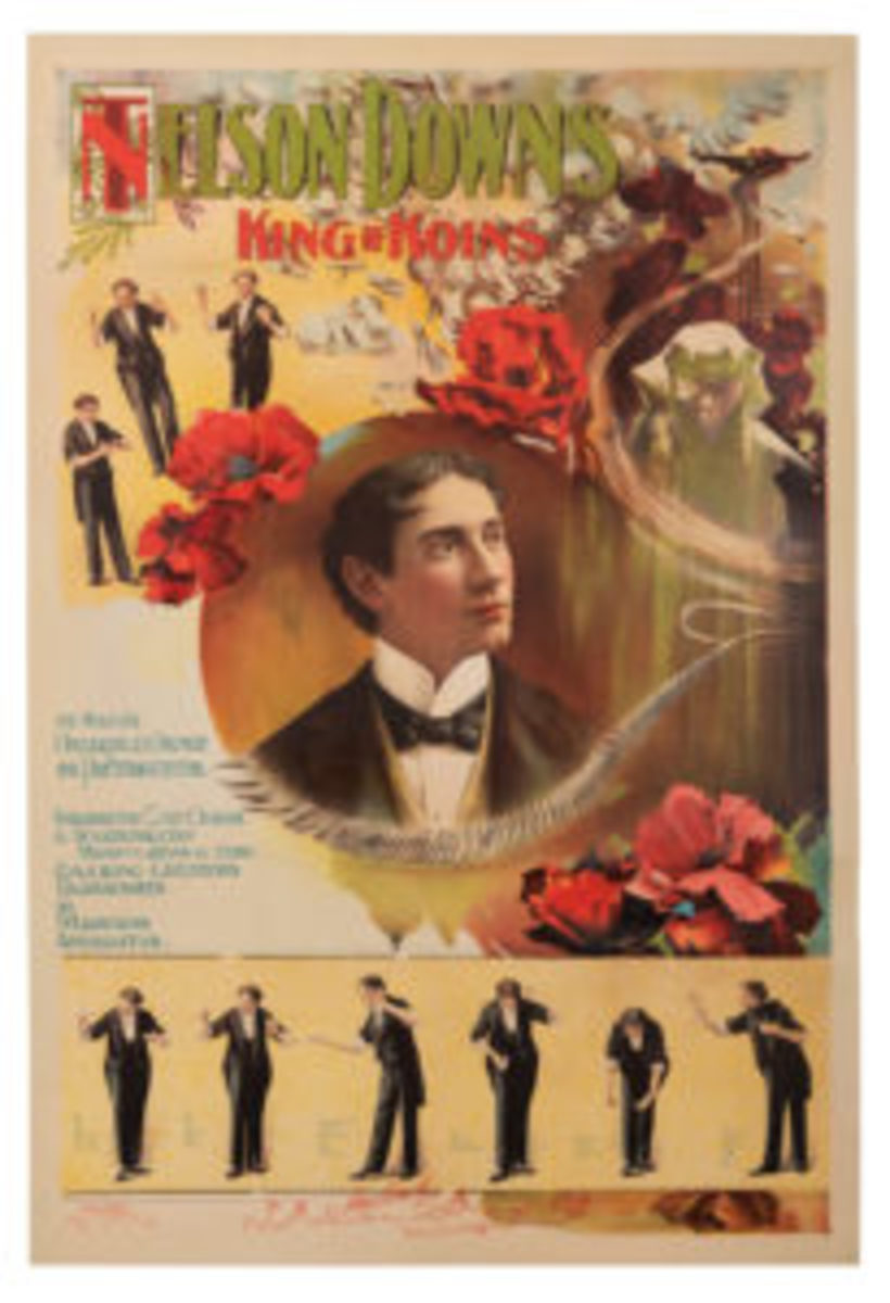 """One of the featured lots at the Potter & Potter Winter Magic Auction on Dec. 14 is this poster of T. Nelson Downs, known as the King of Koins. The circa 1905 poster by Carqueville Litho of Chicago is an artistically rendered color lithograph bearing a central bust portrait of Downs, surrounded by vignettes of his coin manipulation act, ribbons of silver coins, and soft red flowers. A filmstrip-like sequence from his famous Miser's Dream fills the bottom of the poster, showing six poses from Downs' famous feat; 28-1/2"""" x 42"""". Estimate: $8,000-$10,000."""