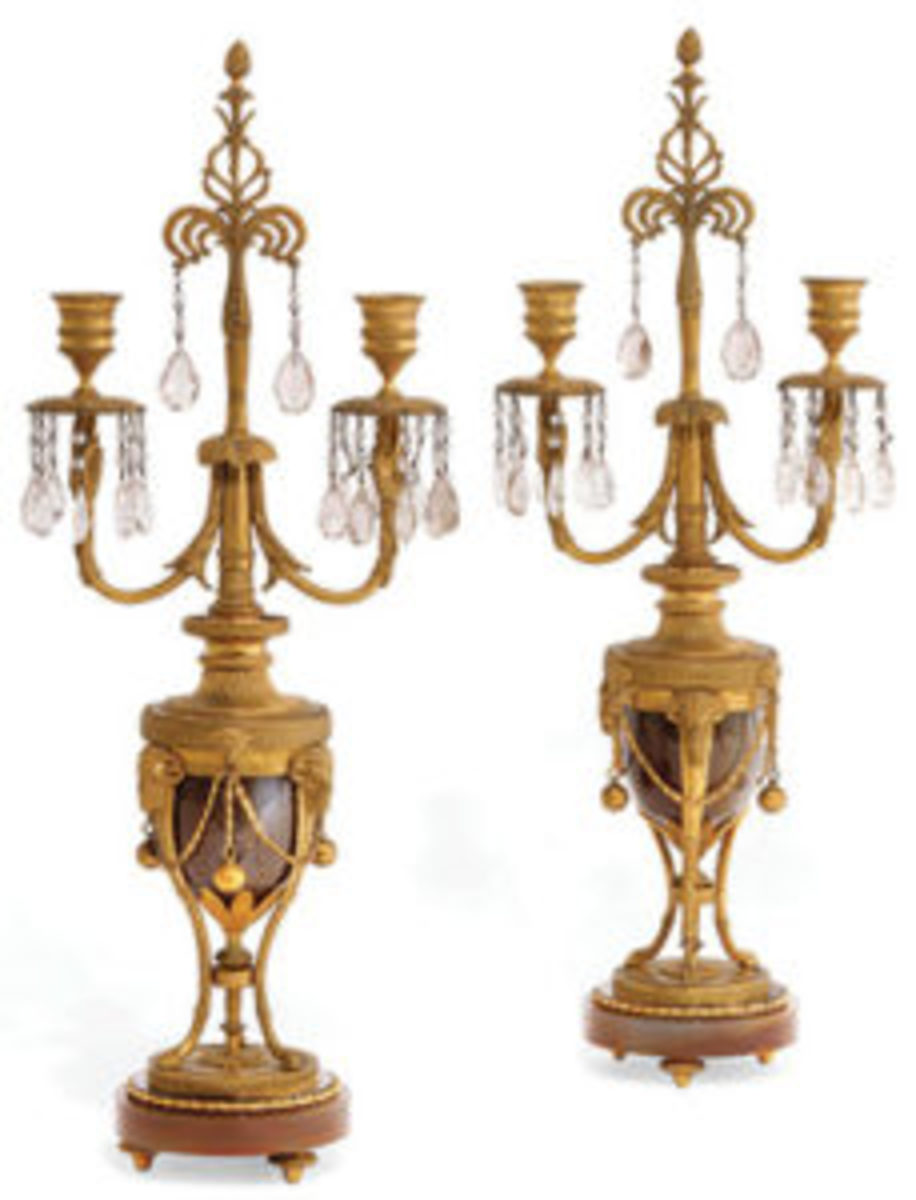 "Pair of North European gilt bronze mounted agate two-light candelabra, probably Swedish, circa 1800, 20-1/2"" h x 7-3/4 w; estimate: $3,000-$5,000."
