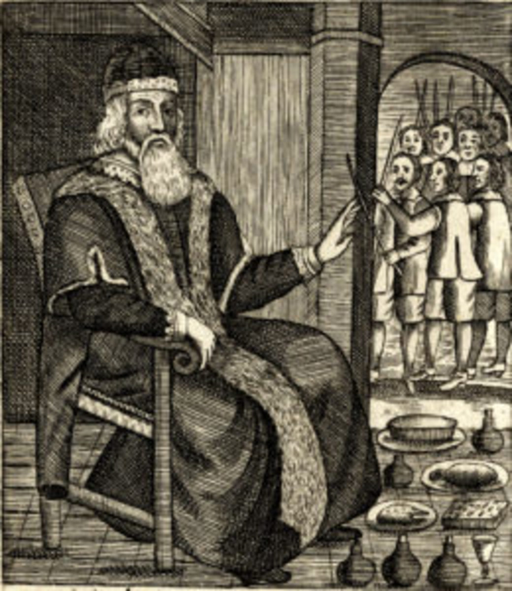 Father Christmas as pictured in Josiah King's The Examination and Tryal of Father Christmas, 1686.