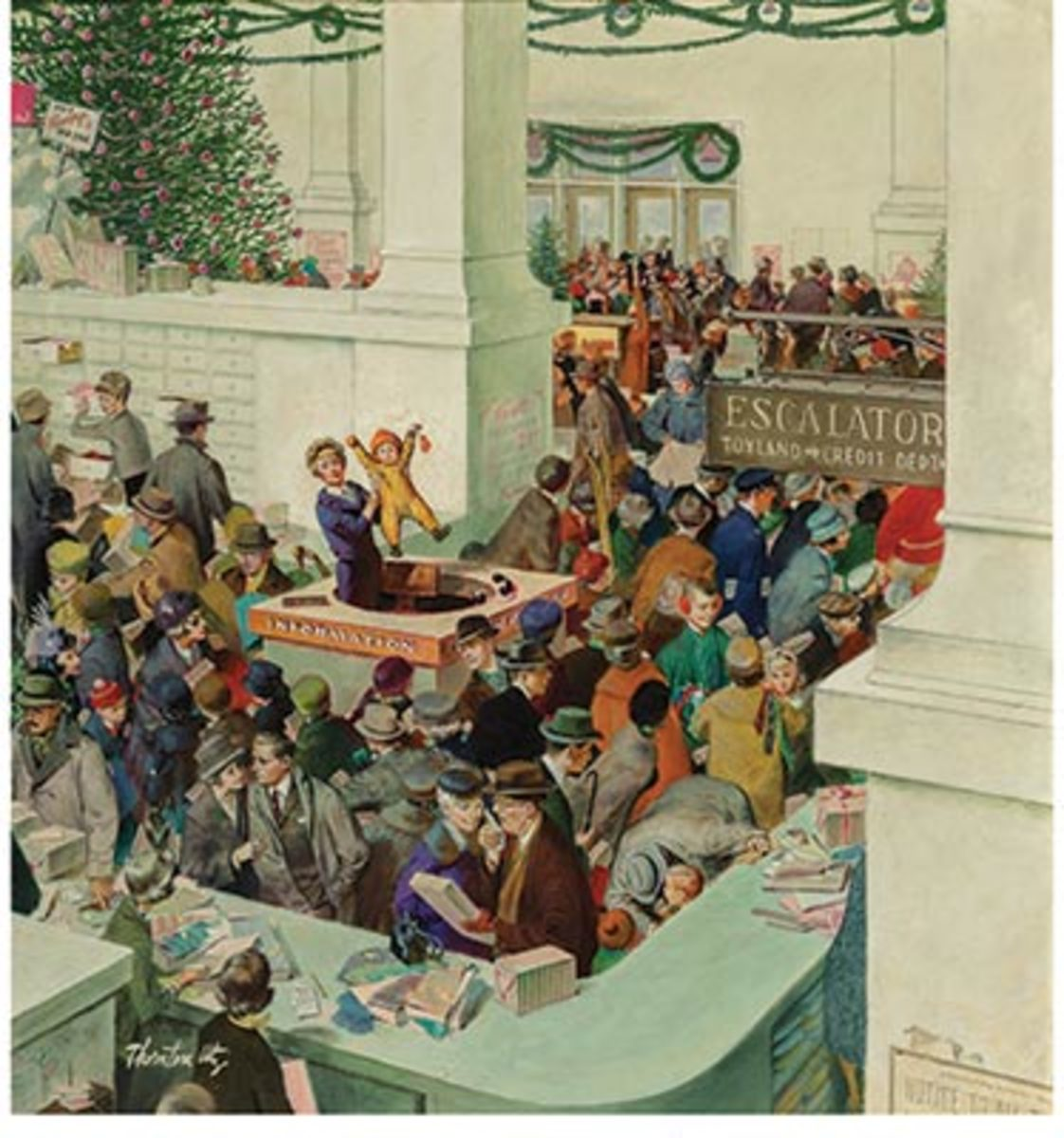 Thorton Utz Love's Lost Child at the Information Booth,The Saturday Evening Post cover, December 20, 1958 sold for $206,250 – a new auction record for the artist.