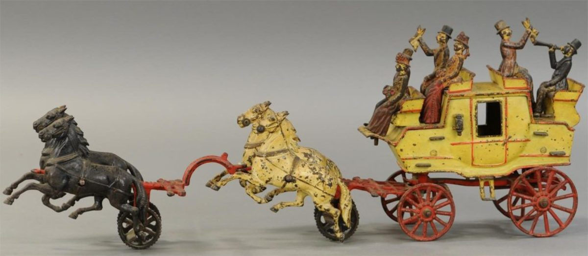 "A desirable example of a large-scale horse-drawn toy, hard to find P&L coloration example, 27"" l; $14,400."