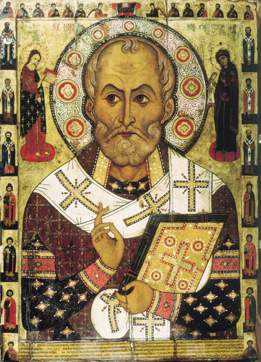 St. Nicholas, as he appears on a Russian icon dated to 1294 from Lipnya Church of St. Nicholas in Novgorod. Unless otherwise noted, all photos are from Wikimedia/public domain