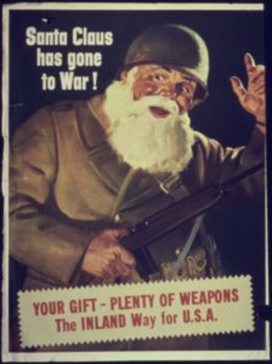A poster from the Office for Emergency Management, War Production Board, circa 1942, with Santa in army fatigues.