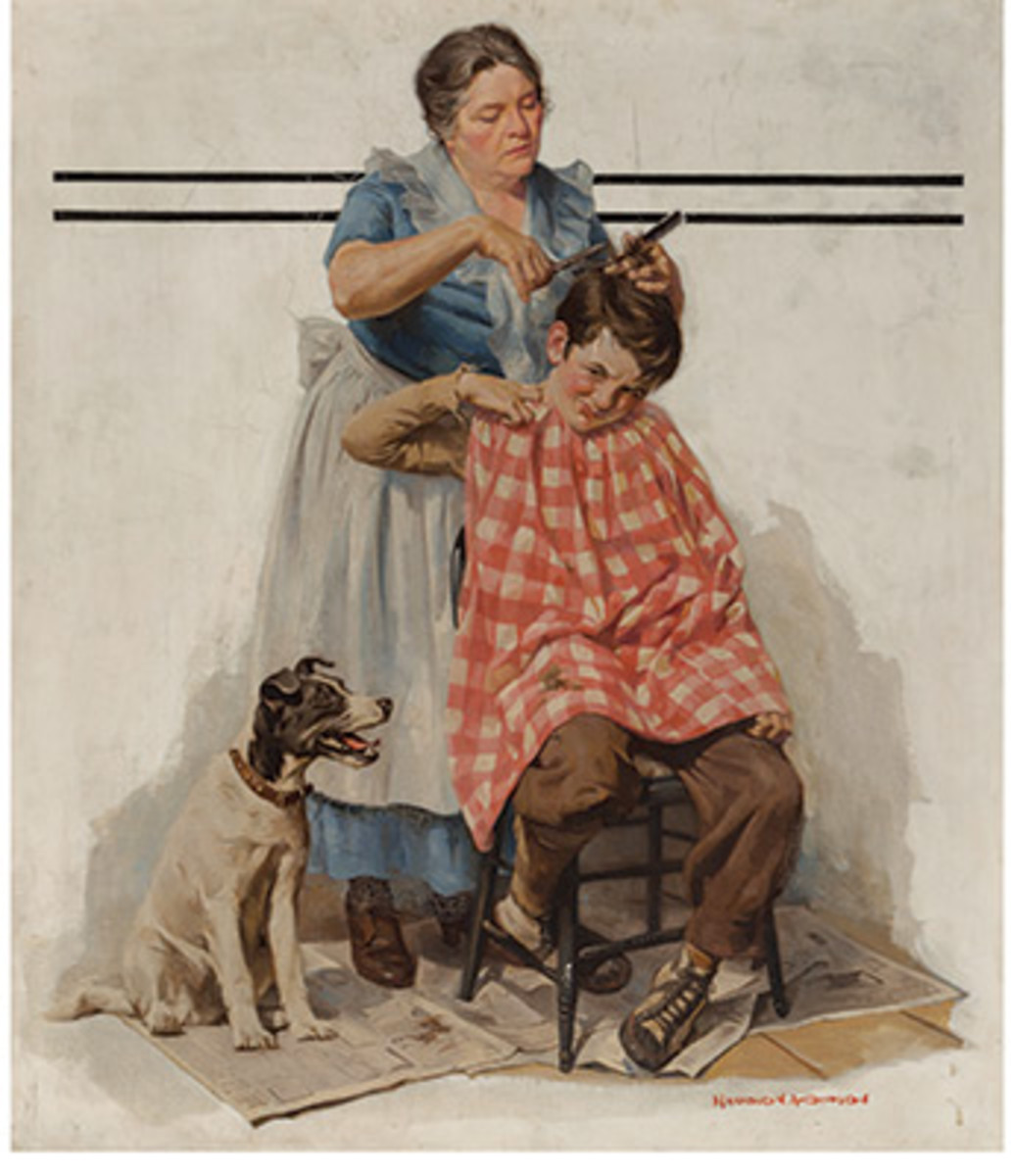 Harold AndersonKitchen Haircut, The Saturday Evening Post cover, November 11, 1933, sold for $30,000 and was also a new record for the artist.