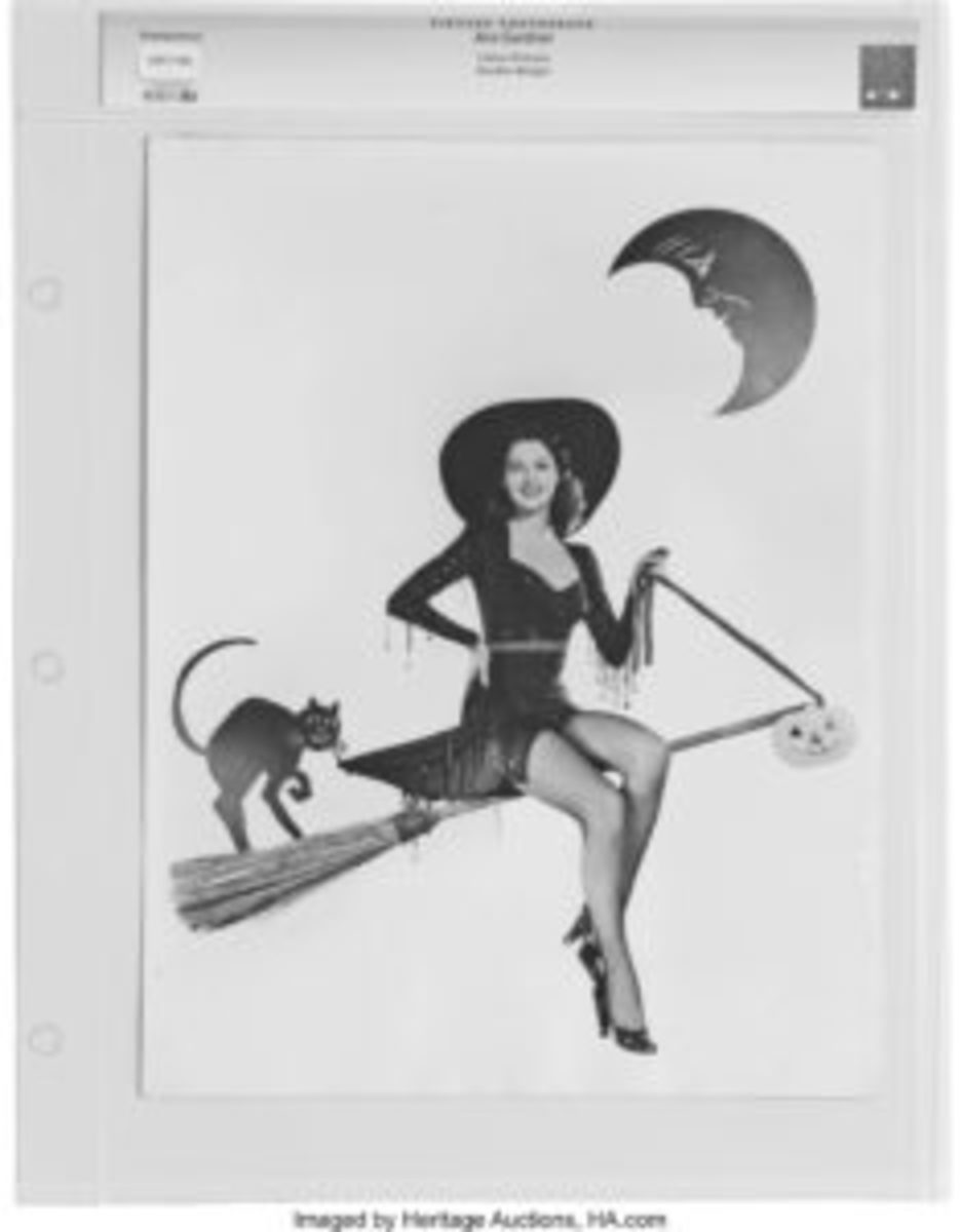 Ava Gardner is one of the most attractive witches we've ever seen in this vintage photo. Gardner's breakout role in 1946's The Killers made her a star. Meow!