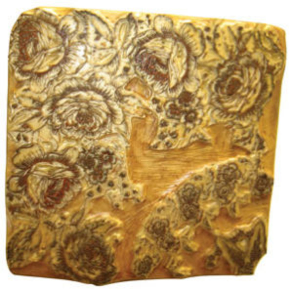 Another fantastic hand-carved wood block with large floral design. The block is over one foot square; $150+.