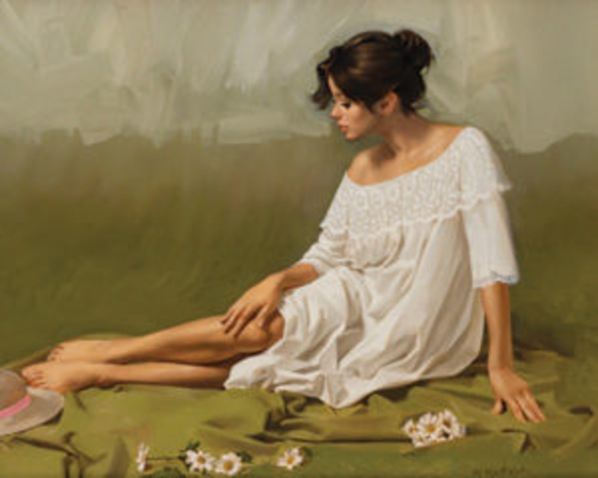 White Flowers, Green Blanket by William Whitaker.