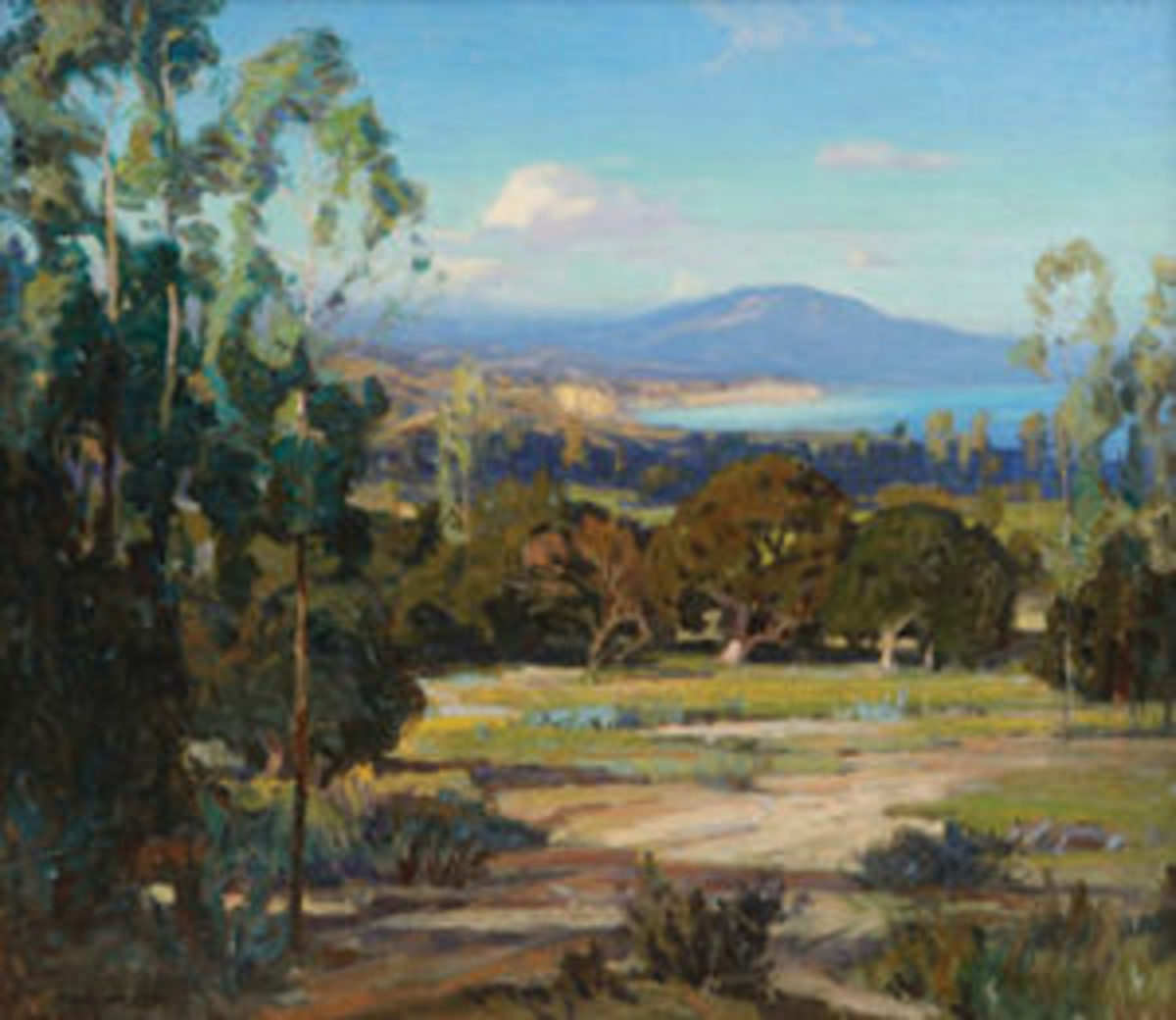 """Oil on canvas painting by Carl Oscar Borg (Swedish/American, 1879-1947), titled Montecito looking towards the Rincon, signed lower left, 29"""" x 33-1/2""""; estimate: $25,000-$35,000."""