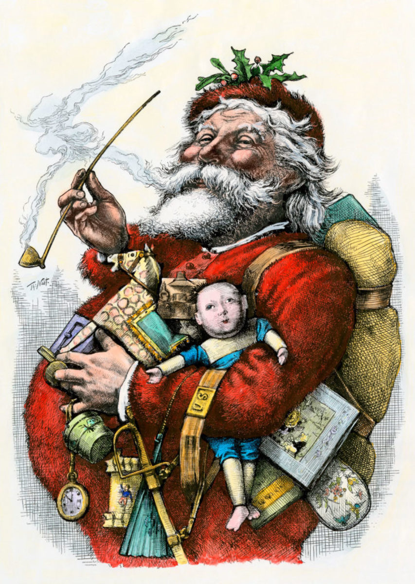 " The traditional image of St. Nick is from Thomas Nast's most famous drawing, ""Merry Old Santa Claus,"" from the January 1, 1881 edition of Harper's Weekly."