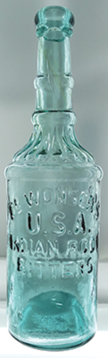 Wonser's USA Indian Root Bitters, an unusually shaped early San Francisco bottle in a bright aqua circa 1871-73; estimate: $10,000 to $15,000.