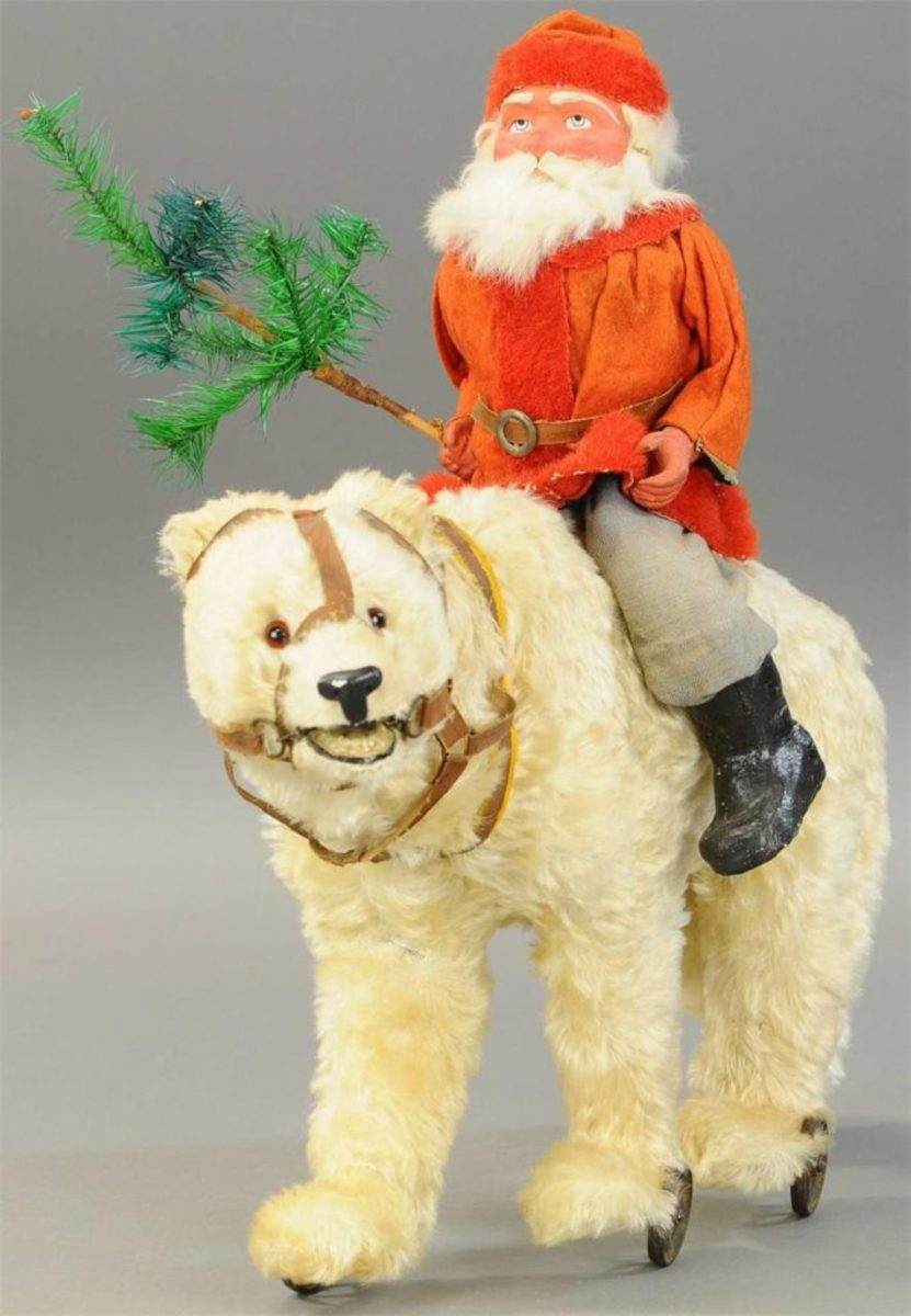 "Exceptionally large bear with leather harness and brown glass eyes carries Santa with red waistcoat and red fur trim, composition face with a rabbit fur beard and holding a feather tree in hand, mounted on iron wheels, and head moves for growler mechanism, 22"" l; $43,200 (tens of thousands more than its estimate of $3,000-$4,000)."