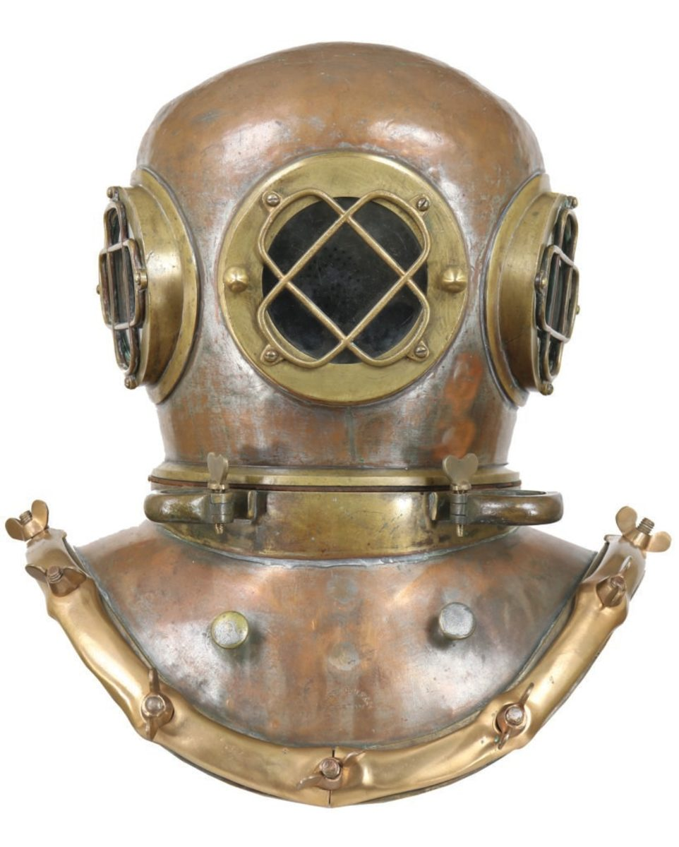 An Alfred Hale diving helmet from the 19th century.