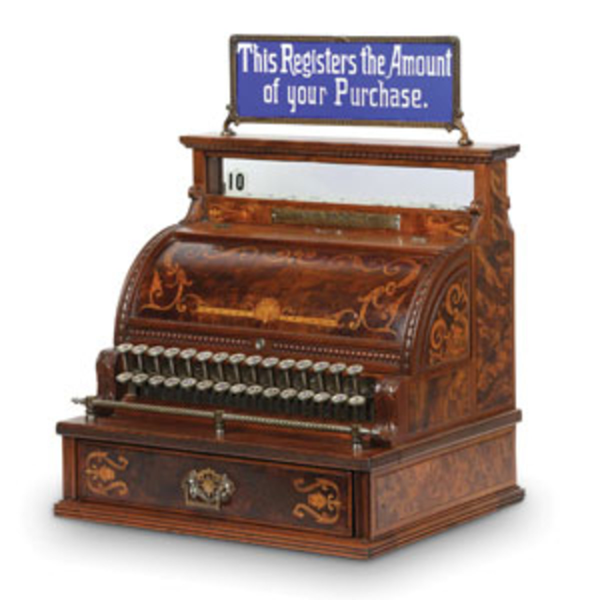 National Model 3 cash register, made in America in the 1890s, with rare cobalt cut-to-clear glass top sign, $11,500.