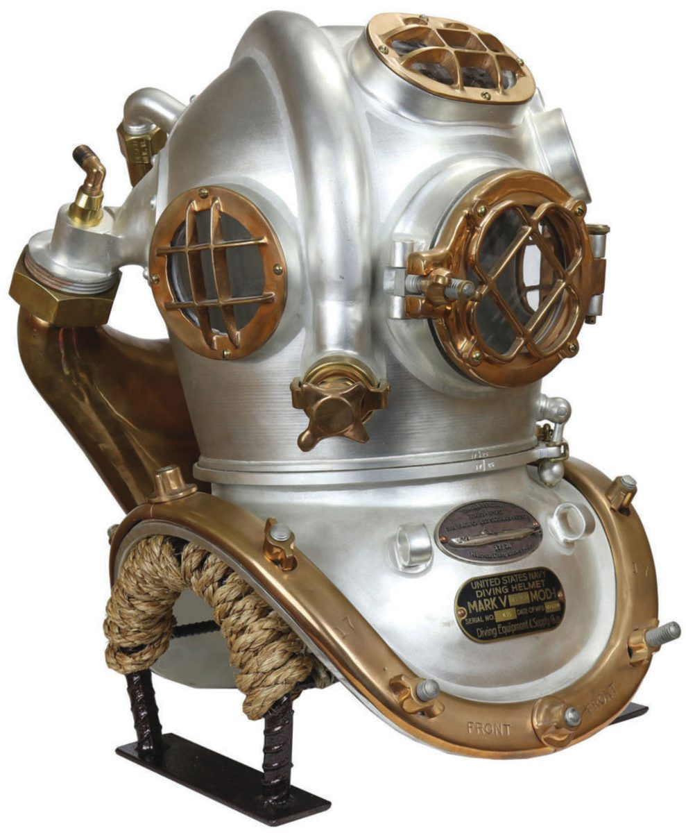 US Navy Mark V mixed-gas USS Squalus commemorative diving helmet.