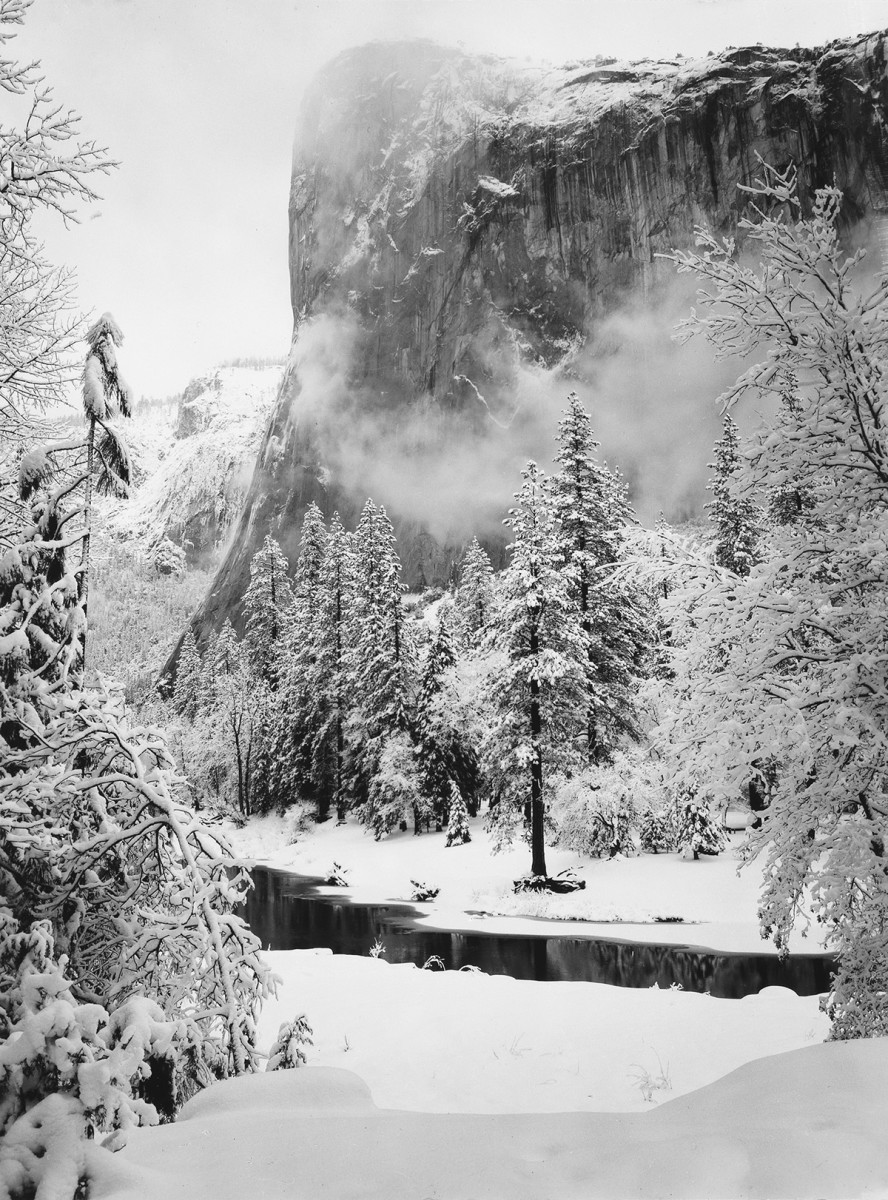 "Ansel Adams' ""El Capitan, Winter,"" a 1950 photograph of the majestic vertical rock formation in Yosemite National Park, sold at auction for $4,500."