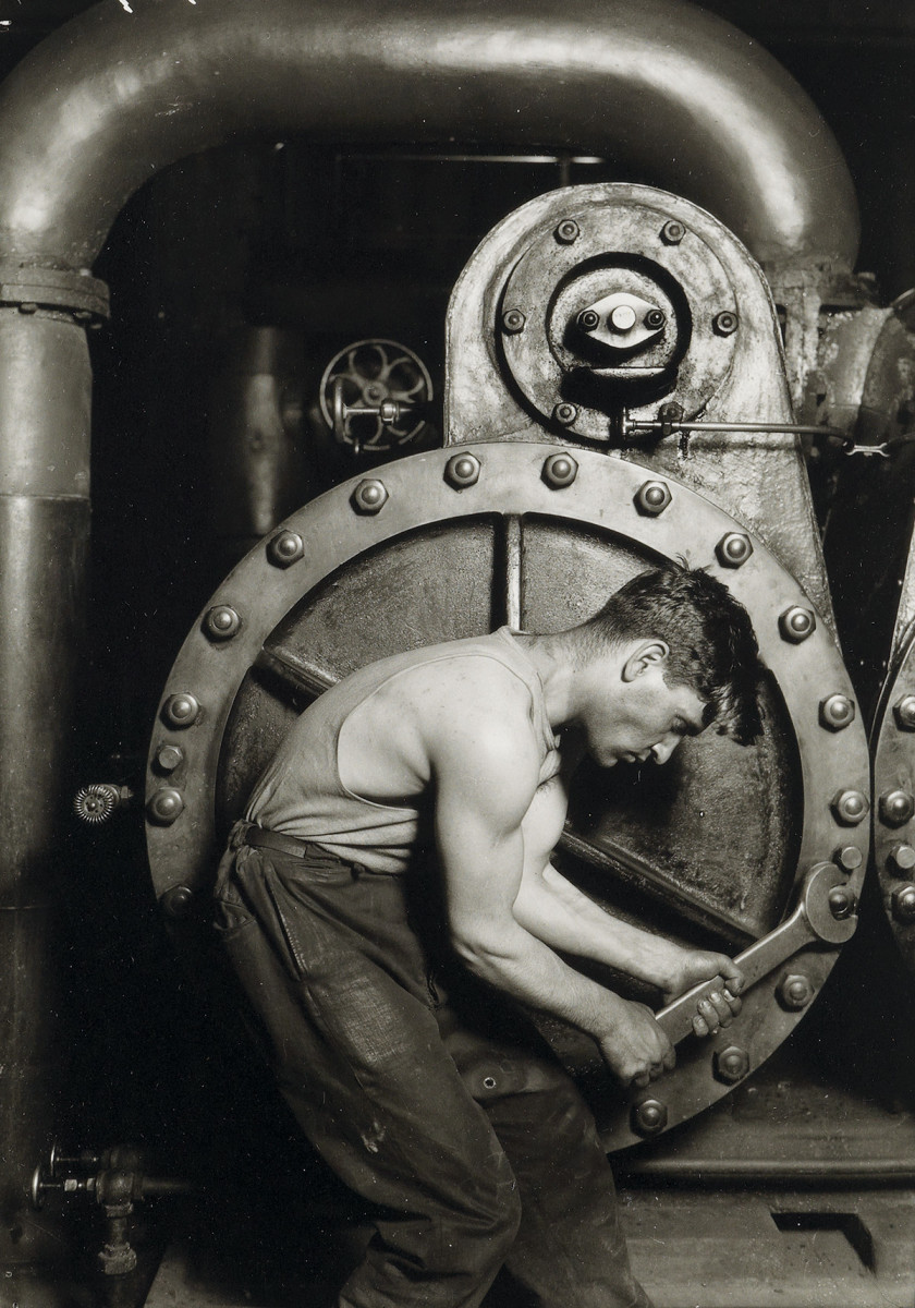 """Power House Mechanic (1920-21),"" a photograph by Lewis Hine sold for $2,800 at auction."