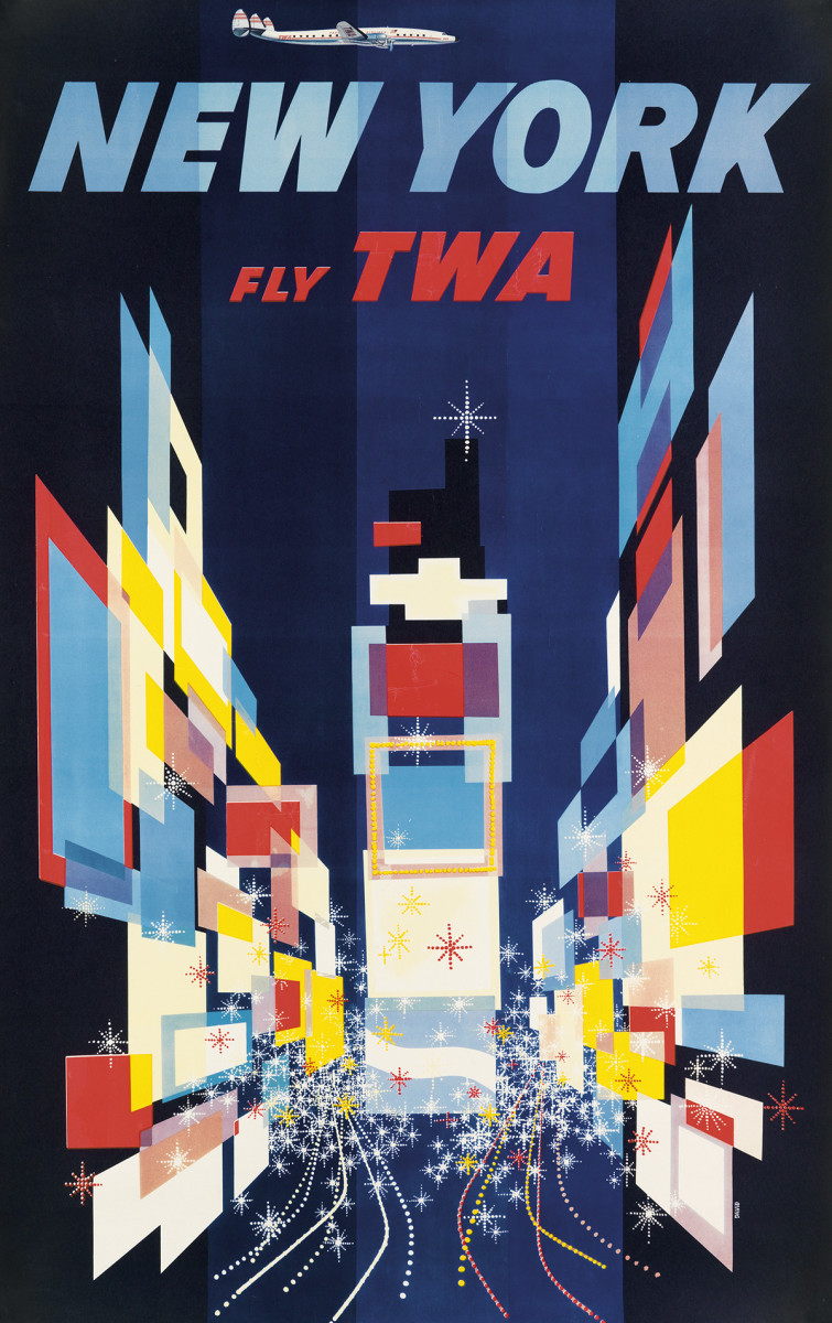 A    bright, abstract, kaleidoscopic view of New York's Times Square, with its billboards, lights, traffic, energy and excitement is captured in the 1956 travel poster by David Klein, which sold at auction for $4,750.