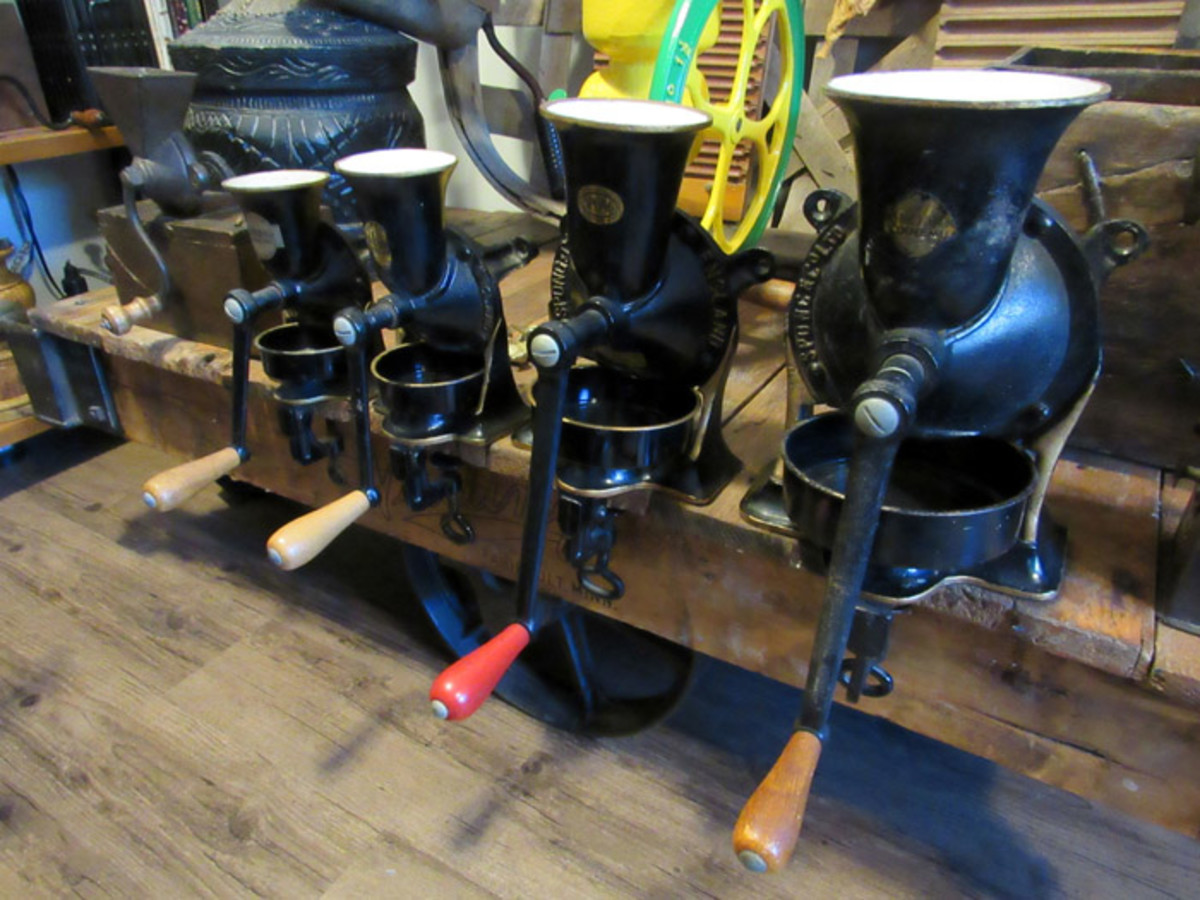 Cast iron Spong coffee grinders from England.