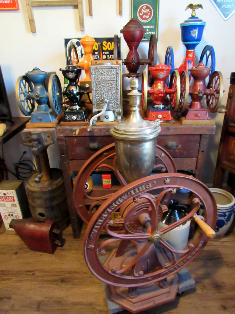 A number of Lewis' assorted grinders; this big one in front is a Star 10A grinder.