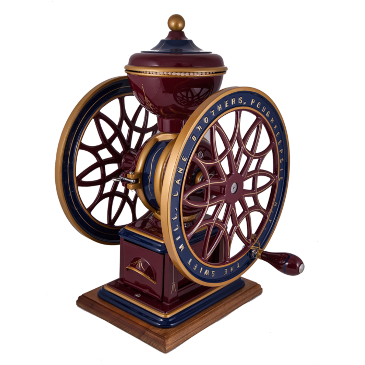 """Original, restored wheel grinder manufactured by The Swift Mill, Lane Brothers, USA, made circa 1890, hand painted red, blue and gold, 12"""" × 13"""" × 19"""", $8,500."""
