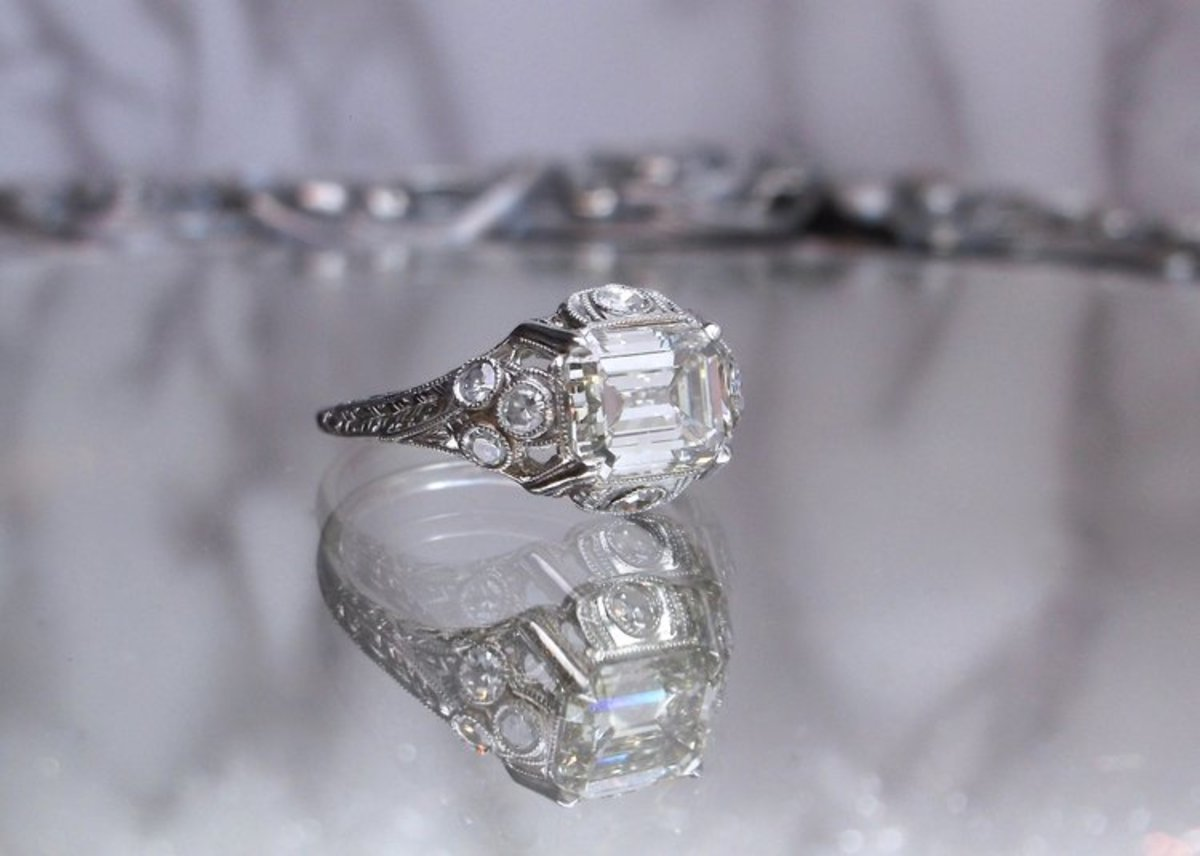 Art Deco jewelry is a favorite with Walton's customers, including pieces like this Art Deco asscher-cut diamond and platinum ring.