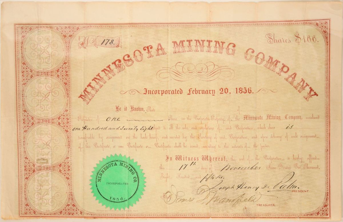One share free trading stock certificate from 1856 for the Minnesota Mining Co., the first mine in Ontanogan County, Mich., signed by the company president and the treasurer, $4,250