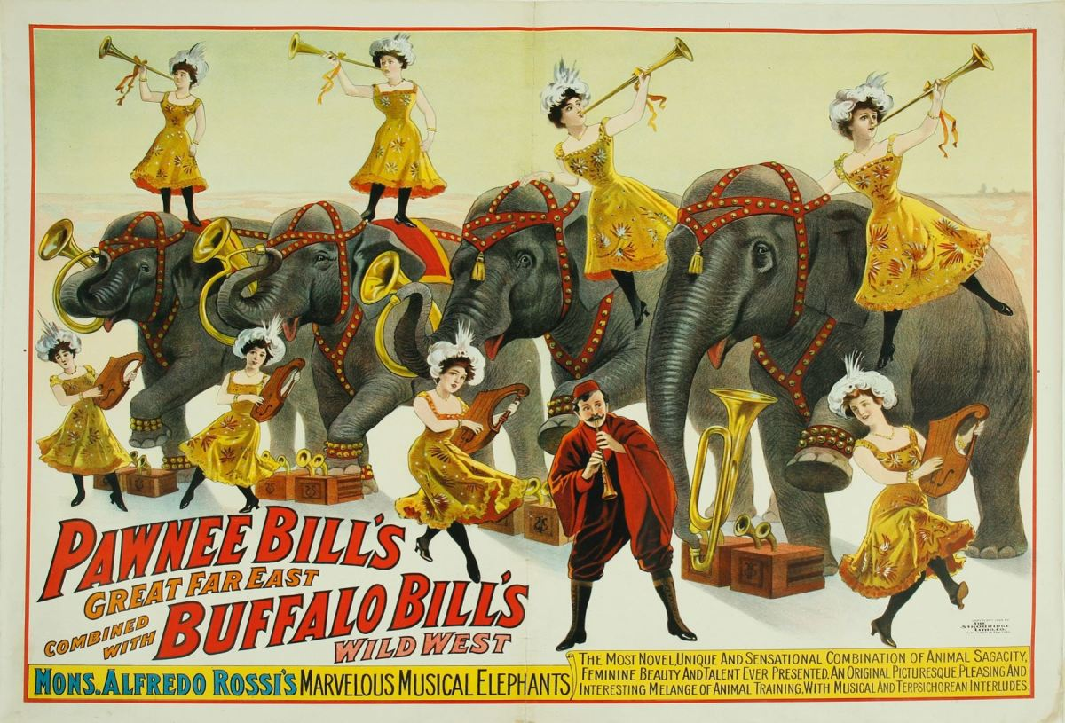 "Original 1909 poster mounted on linen promoting ""Pawnee Bill's Great Far East combined with Buffalo Bill's Wild West,"" 30"" x 40"", framed $4,375."