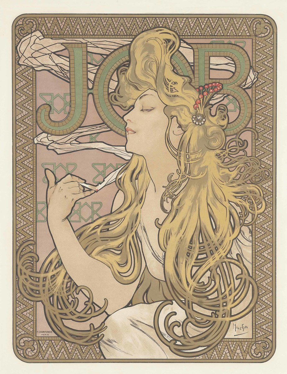 "Job, lithograph in colors, c.1896, printed by F. Champenois, Paris, 23"" x 18"", $8,120."