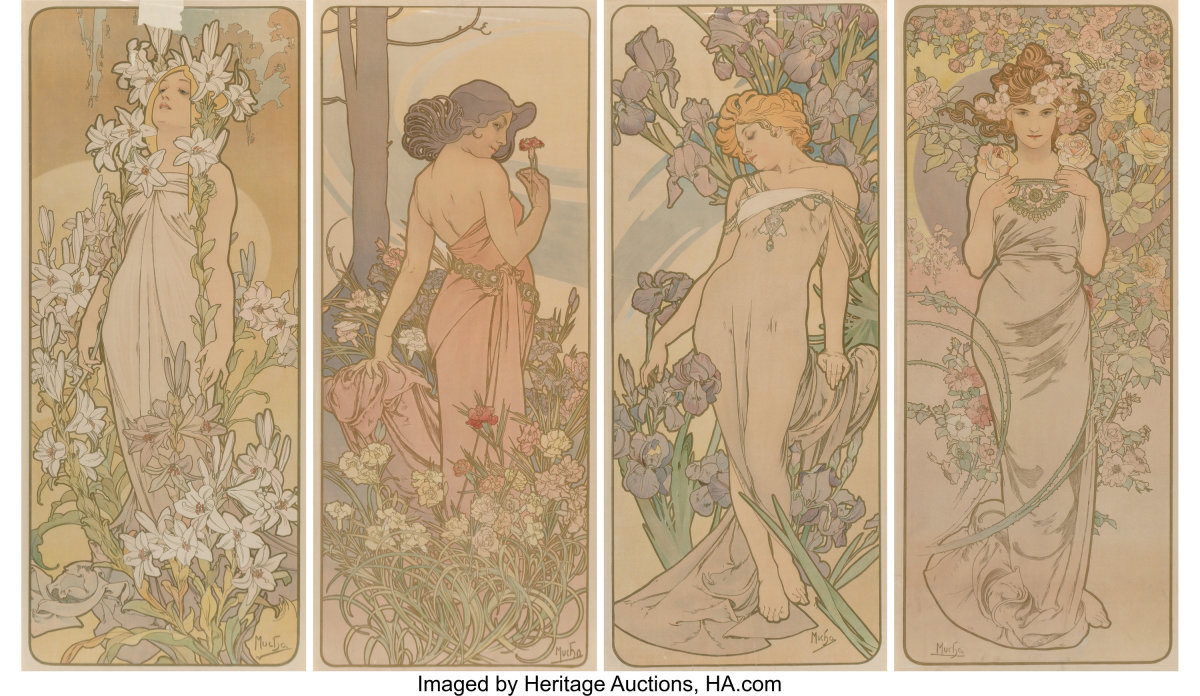 "The Flowers, set of four, 1898 Lithographs in colors on paper, 40-3/4"" x 17-1/8"" each, printed by F. Champenois, Paris, $22,500."