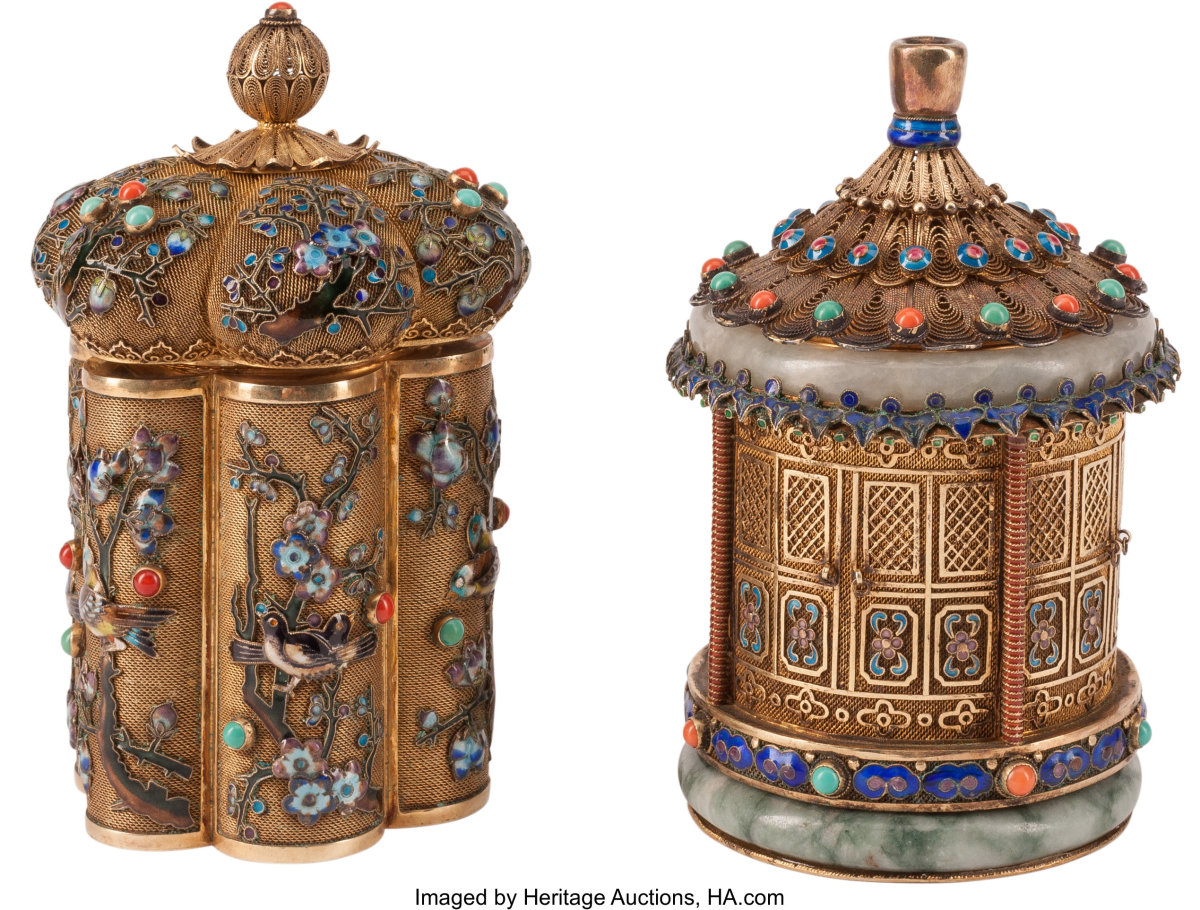 """Lot of two Chinese silver and jeweled tea caddies, set with semi-precious stone including turquoise, 5-1/2"""" x 3-1/2"""", $1,625."""