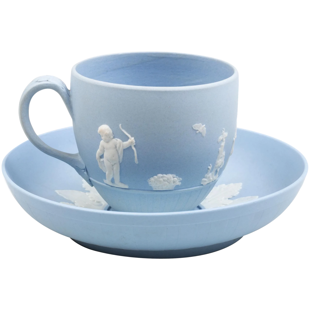 """Wedgwood blue jasperware tea cup and saucer after a design by Lady Templeton, 18th century, light blue body applied with classical figures depicting """"domestic employment."""" Saucer 5"""" dia, impressed lowercase mark, $985."""