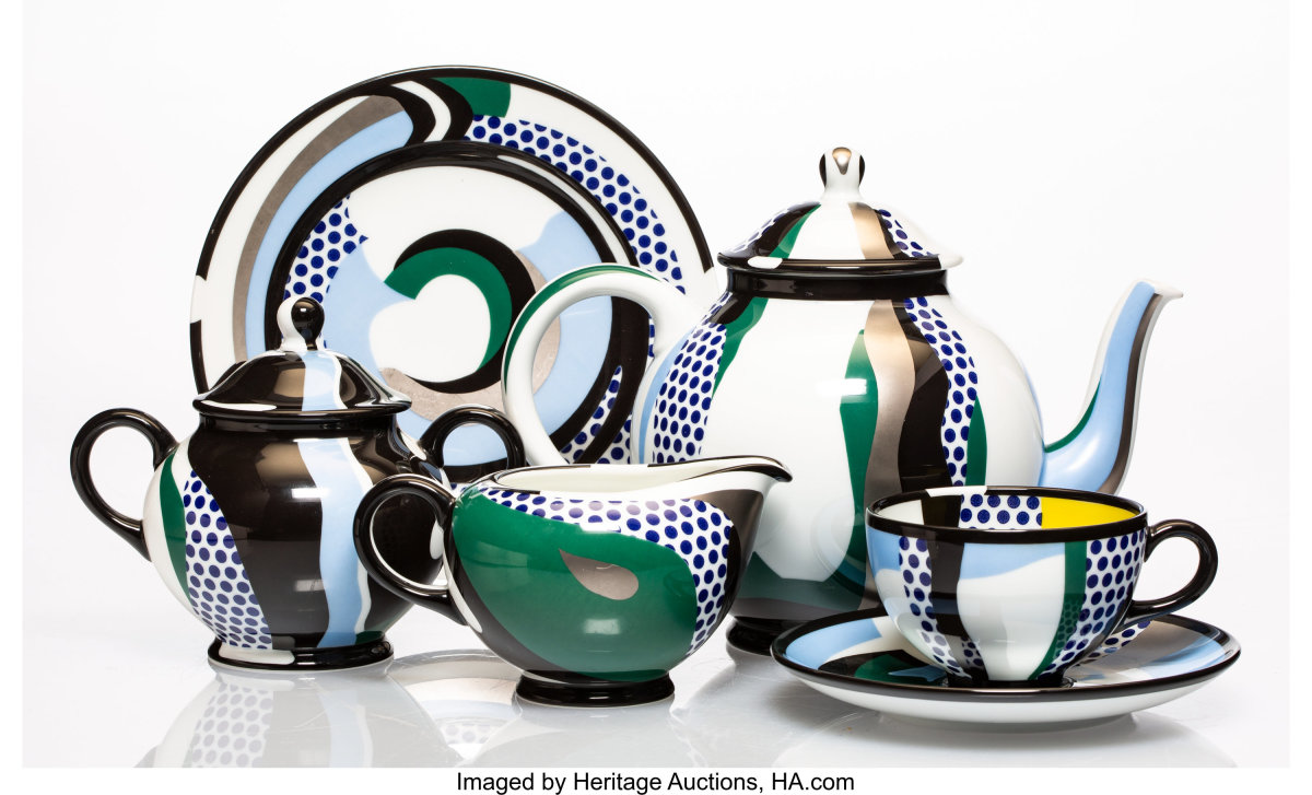 """Roy Lichtenstein (1923-1997) Tea Set,1984, six glazed ceramic pieces, each with the artist's stamped signature on the underside, published by Rosenthal Limiterte Kunstreihen, Germany, teapot is 5-1/2"""" x 9-1/2"""" x 5"""", $6,250."""