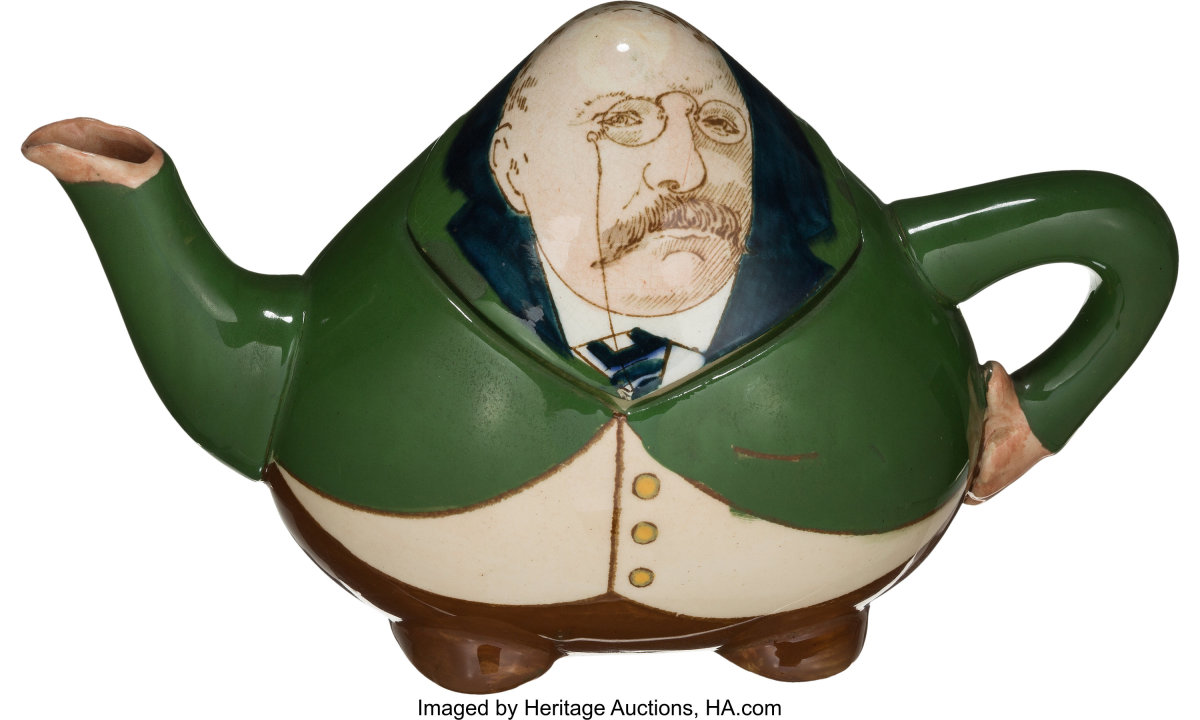 """Rare caricature ceramic teapot made in the form of an uncharacteristically corpulent Theodore Roosevelt, with defined feet and left arm forming the handle, 4-1/2"""" h, 8"""" w, $1,500."""