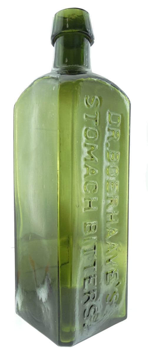 Dr. Boerhaave's Stomach Bitters bottle with an applied tapered top, circa 1868-1869, a San Francisco made bitters with distinctive windows on the reverse, $28,000.
